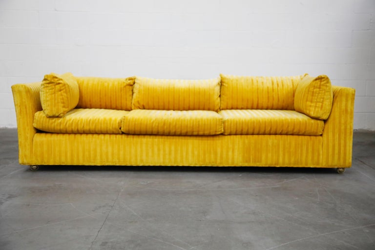 Edward Wormley Style Sectional Sofa with Striped Velvet, Dated 1972 For Sale 2