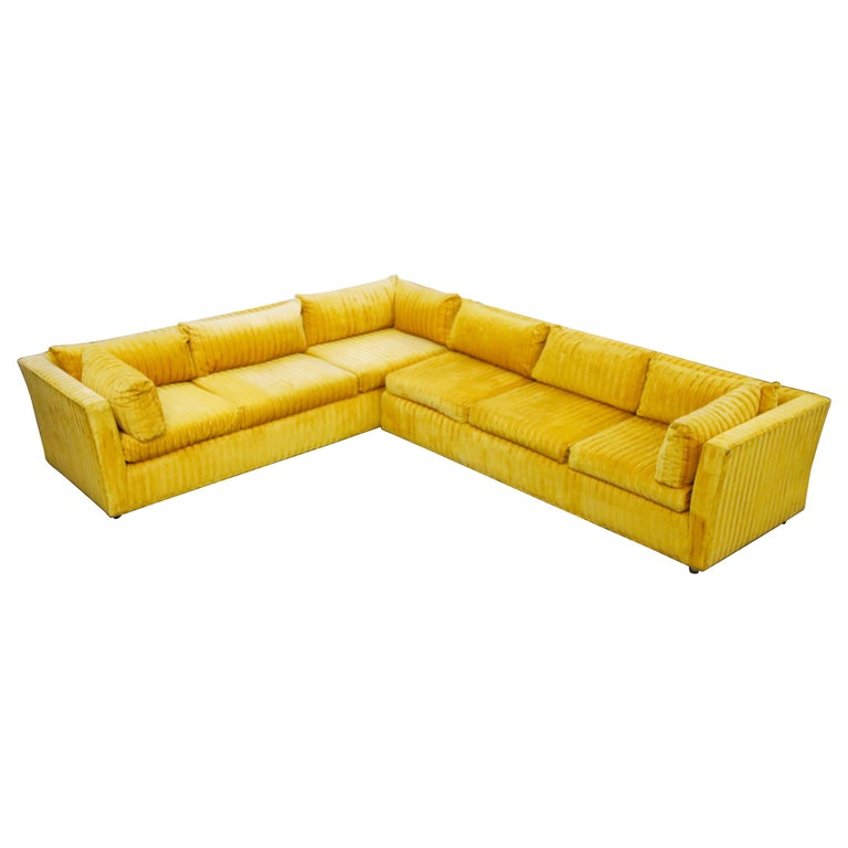 Edward Wormley Style Sectional Sofa with Striped Velvet, Dated 1972 For Sale