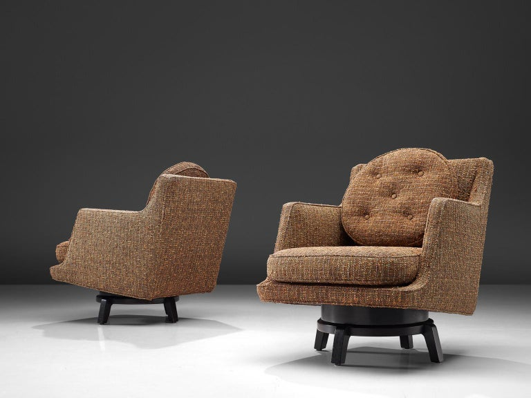 American Edward Wormley Swivel Chairs Model '5609' in Mahogany and Fabric Upholstery For Sale