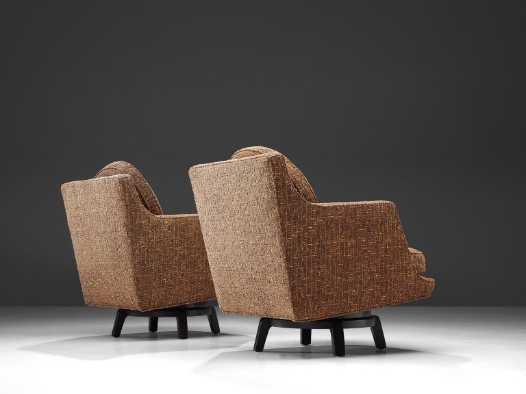 Mid-20th Century Edward Wormley Swivel Chairs Model '5609' in Mahogany and Fabric Upholstery For Sale