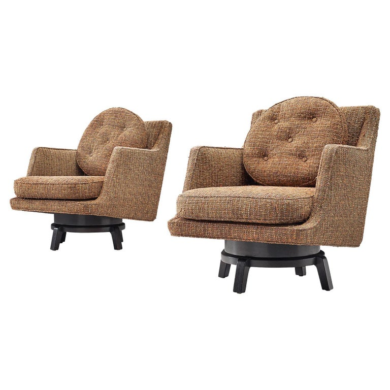 Edward Wormley Swivel Chairs Model '5609' in Mahogany and Fabric Upholstery For Sale