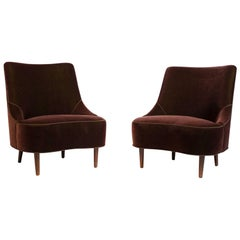 Edward Wormley Tear Drop Slipper Chair for Dunbar in Mohair and Rosewood