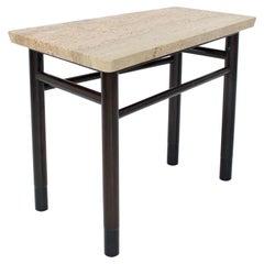 Edward Wormley Trapezoid Side Table with Asavan Carrara Marble Top for Dunbar