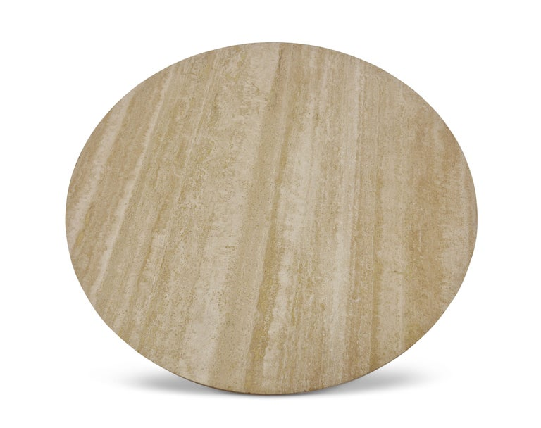 A travertine topped 'sheaf of wheat' coffee table designed by Edward Wormley for Dunbar. Refinished in two-tone stain.