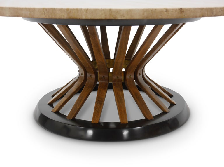 Edward Wormley Travertine Cocktail Table In Excellent Condition For Sale In Hadley, MA