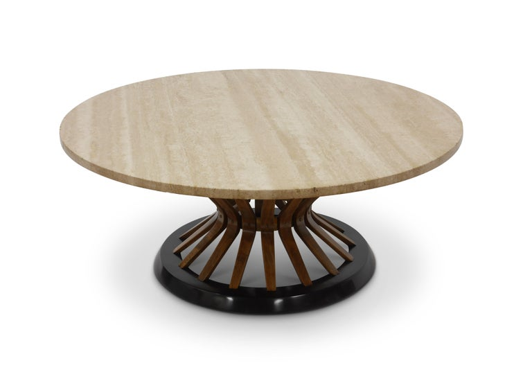 Edward Wormley Travertine Cocktail Table For Sale 1