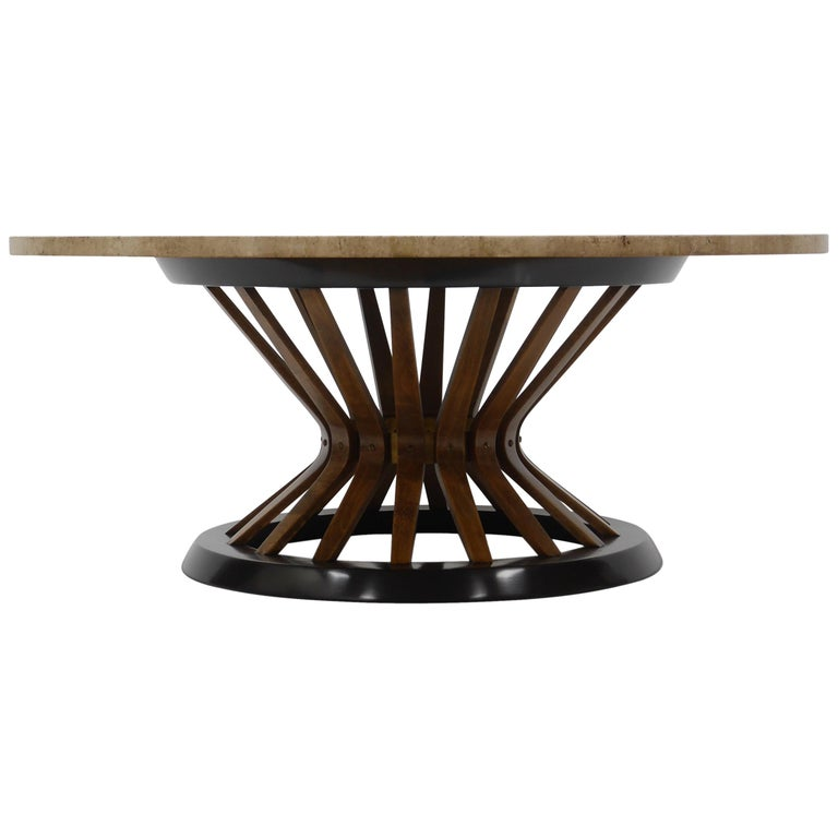 Edward Wormley Travertine Cocktail Table For Sale