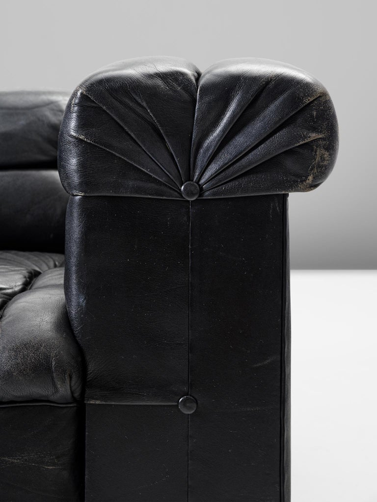 Mid-20th Century Edward Wormley Tufted Club Chair in Black Leather for Dunbar For Sale