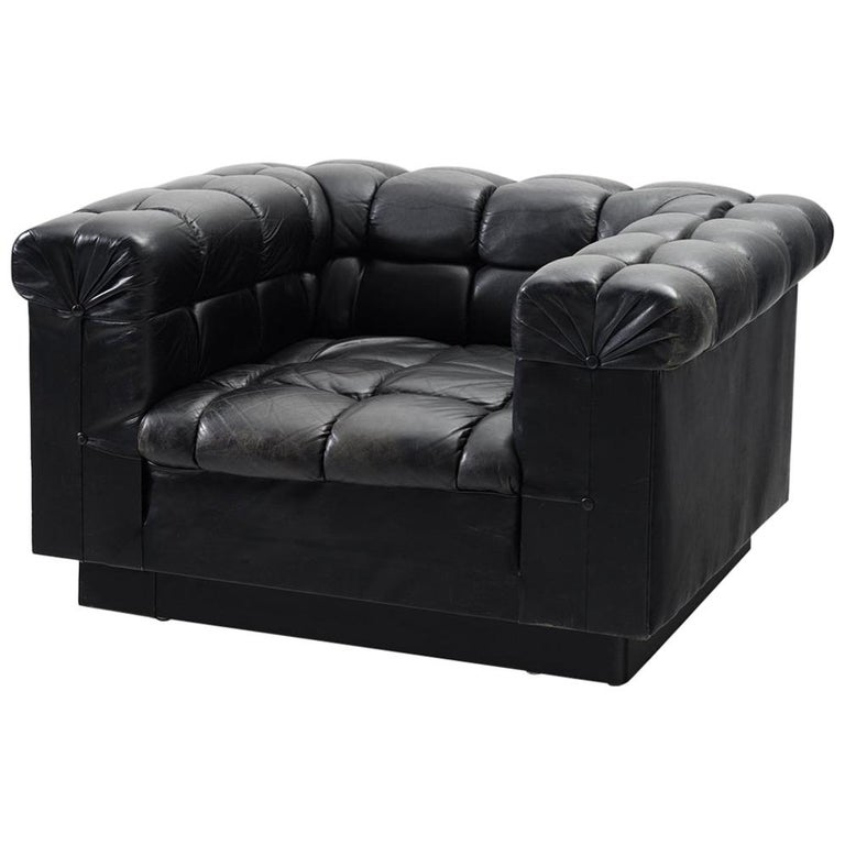 Edward Wormley Tufted Club Chair in Black Leather for Dunbar For Sale