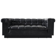 Edward Wormley Tufted Two-Seat Sofa in Black Leather