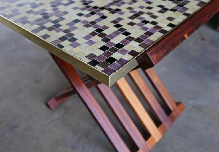 American Edward Wormley X-Base Rosewood and Murano Tile-Top Table For Sale