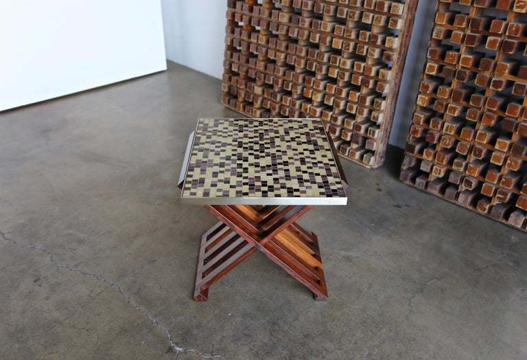 Edward Wormley X-Base Rosewood and Murano Tile-Top Table In Good Condition For Sale In Costa Mesa, CA