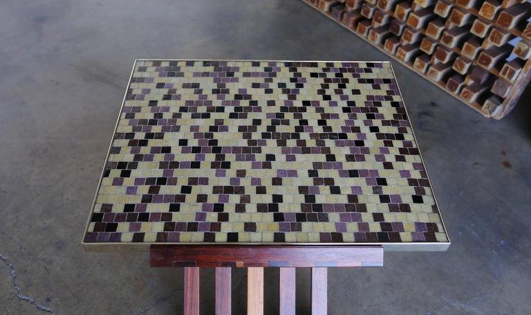 20th Century Edward Wormley X-Base Rosewood and Murano Tile-Top Table For Sale