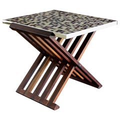Edward Wormley X-Base Rosewood and Murano Tile-Top Table