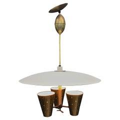 Edward Wormley XL Brass Pulldown Triennale Chandelier Pendant Lamp Dining Table
