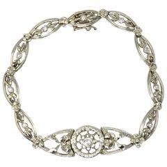 Edwardian 0.30 Carat Diamond 10 Karat White Gold Floral Link Bracelet