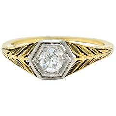 Edwardian 0.35 Carat Diamond Platinum 18 Karat Gold Foliate Engagement Ring