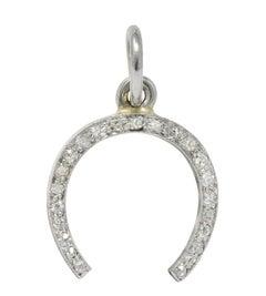Edwardian 0.37 Carat Diamond Platinum Horseshoe Charm, circa 1920