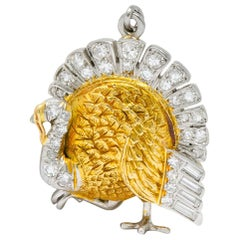 Edwardian 0.38 Carat Diamond 18 Karat Gold Platinum Turkey Charm