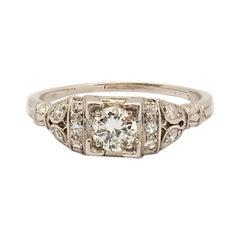 Edwardian 0.40 Carat Diamond Engagement Platinum Ring