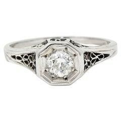 Edwardian 0.45 Carat Diamond 14 Karat White Gold Floral Engagement Ring