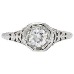 Edwardian 0.45 Carat Diamond and 19 Karat White Gold Engagement Ring