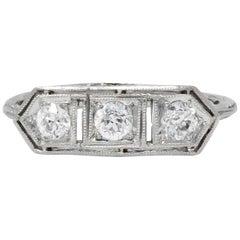Edwardian 0.45 Carat Old European Diamond Platinum 3-Stone Ring