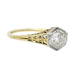 Edwardian 0.48 Carat Diamond Platinum-Topped 14 Karat Gold Hexagonal Engagement