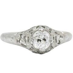 Edwardian 0.50 Carat Diamond and 18 Karat White Gold Engagement Ring GIA