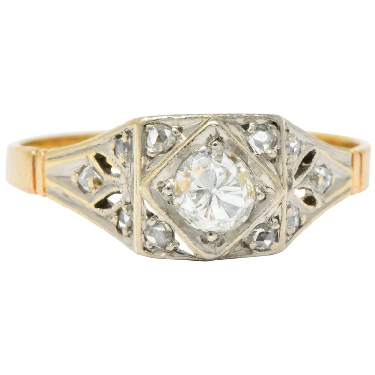 Edwardian Engagement Rings For Sale: Edwardian 0.50 Carat Diamond Platinum 14 Karat Gold