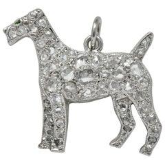 Edwardian 0.50 Carat Diamond Platinum Airedale Terrier Dog Charm, circa 1915