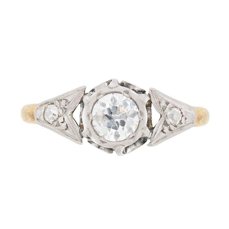 Edwardian 0.50 Carat Diamond Solitaire Engagement Ring, circa 1910 For Sale
