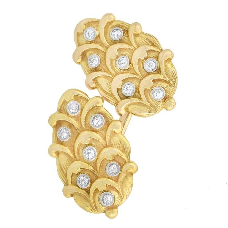 Old Mine Cut Edwardian 0.50 Total Carat Diamond Cufflinks For Sale