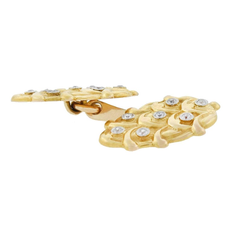 Edwardian 0.50 Total Carat Diamond Cufflinks In Good Condition For Sale In Narberth, PA
