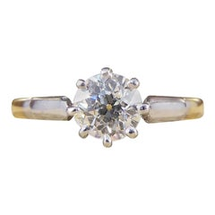 Edwardian 0.53 Carat Diamond Solitaire Ring in 18 Carat Yellow Gold and Platinum
