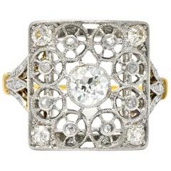 Edwardian 0.55 Carat Diamond Platinum 14 Karat Gold Dinner Ring