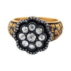 Edwardian 0.56 CT Rose Cut Diamond Ring 18 Karat Yellow Gold