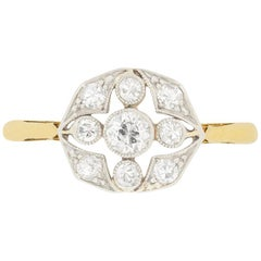 Edwardian 0.60 Carat Diamond Cluster Ring, circa 1910s