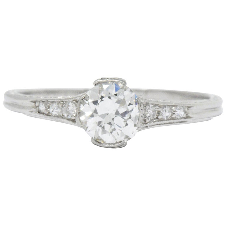 Edwardian Engagement Rings For Sale: Edwardian 0.63 Carat Diamond And Platinum Engagement Ring