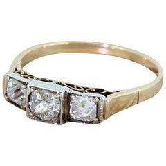 Edwardian 0.63 Carat Old Cut Diamond Trilogy Ring