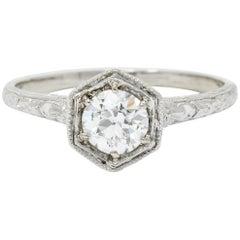 Edwardian 0.65 Carat European Diamond Platinum Floral Hexagonal Engagement Ring