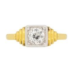 Edwardian 0.68ct Diamond Solitaire Engagement Ring, c.1910s