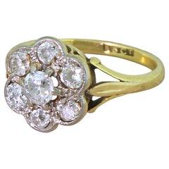 Edwardian 0.70 Carat Old Cut Diamond Cluster Ring
