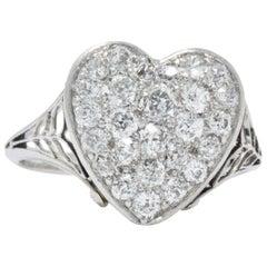 Edwardian 0.70 CTW Diamond 18K Gold & Platinum Heart Alternative Engagement Ring