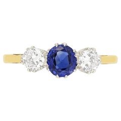 Edwardian 0.70ct Sapphire and Diamond Trilogy Ring, c.1910s