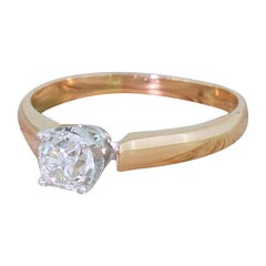 Edwardian 0.79 Carat Old Cut Diamond Engagement Ring