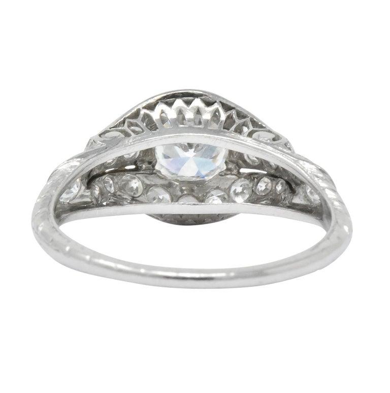 Women's or Men's Edwardian 0.80 Carat Diamond Platinum Engagement Alternative Ring For Sale