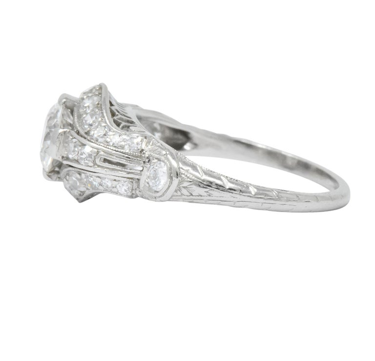 Edwardian 0.80 Carat Diamond Platinum Engagement Alternative Ring For Sale 1