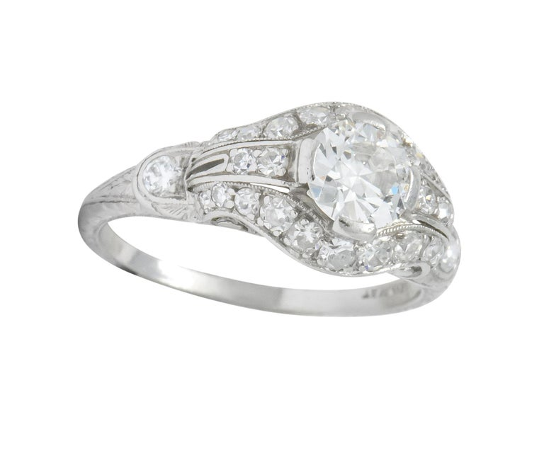 Edwardian 0.80 Carat Diamond Platinum Engagement Alternative Ring For Sale 4
