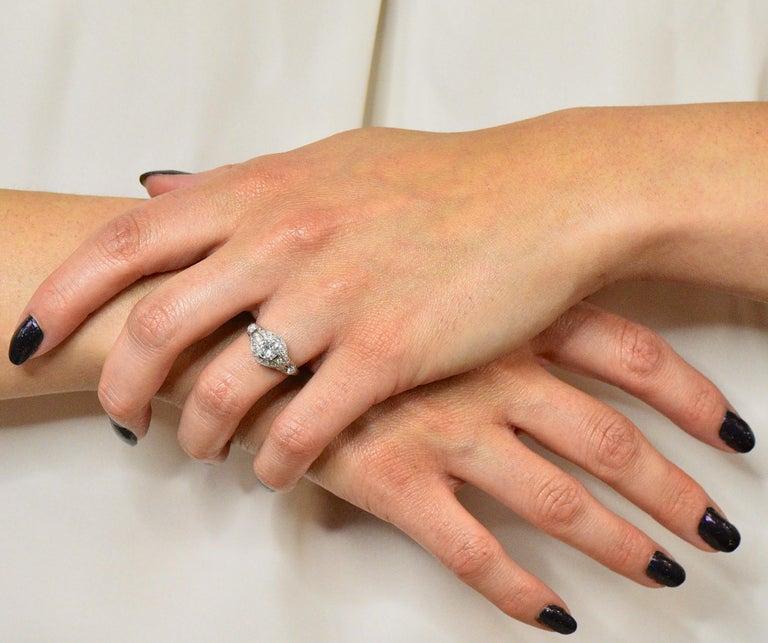 Edwardian 0.80 Carat Diamond Platinum Engagement Alternative Ring For Sale 5